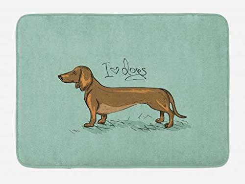 Attent Teckel Badmat Door Teckel Puppy Op Een Abstracte Turquoise Achtergrond Pure Ras Dier Pluche Badkamer Decor Mat Shrink-Proof