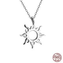 Women Jewelry Classic Sun Pendant Necklace Fashion Flame Neck Clavicle Chain Statemen S925 Sterling Silver Pendant Necklaces цена 2017