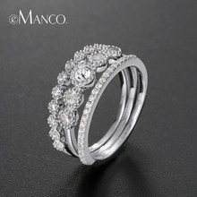 e-Manco Minimalist Wedding Ring Set For Women 925 Sterling Silver Knuckle Ring 3pcs/lot Fine Jewelry Annivarsary Gifts for Wife(China)