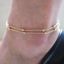 JU 10 Fairy Store 2016 Barefoot Beach DoubleChain Link Tassel Foot  Anklet Jewelry Toe Anklet Cheville Women Tornozeleira Ankle