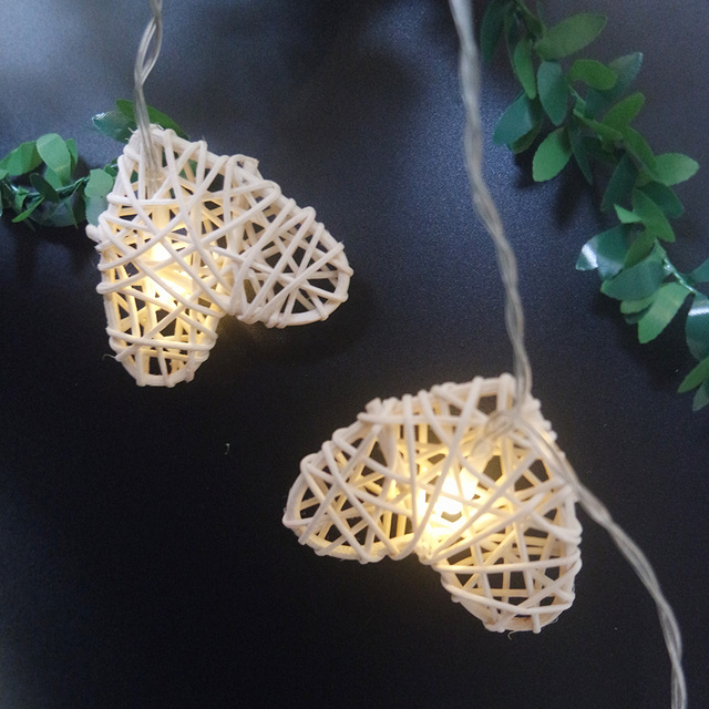 Creative ranttan heart  led string light by AA battery,Holiday party light string 4meter 20led,Near year supplies/home decor.