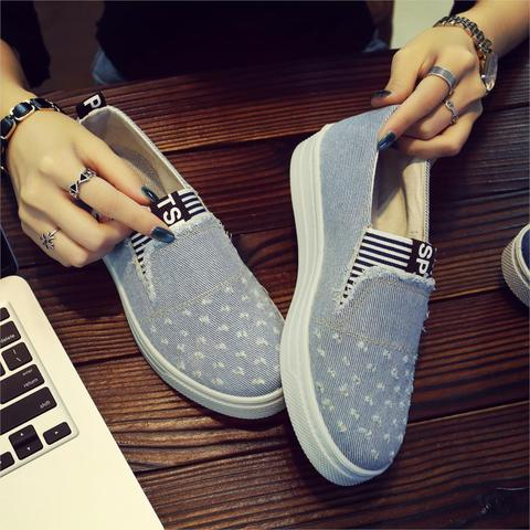 Women Denim Shoes flats Fashion Casual Jeans Shoes Girl Classic Soft Flats Soles Students Spring Canvas Shoes Lady New Arrival Karachi