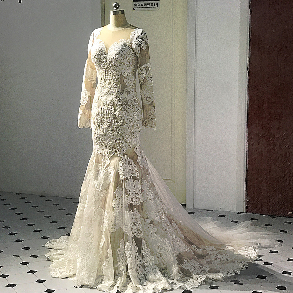 Champagne Lace Wedding Gown: Aliexpress.com : Buy RSW506 Long Sleeve Mermaid Lace