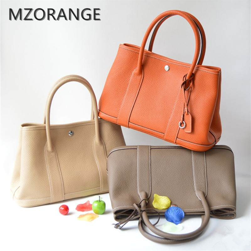 MZORANGE 2017 100% genuine leather luxury women Tote bag famous brands garden party handbag Casual Cowhide Lady shoulder bags genuine leather canvas garden party tote women famous fashion brand casual daily top handle shopping shoulder bag handbag 30cm
