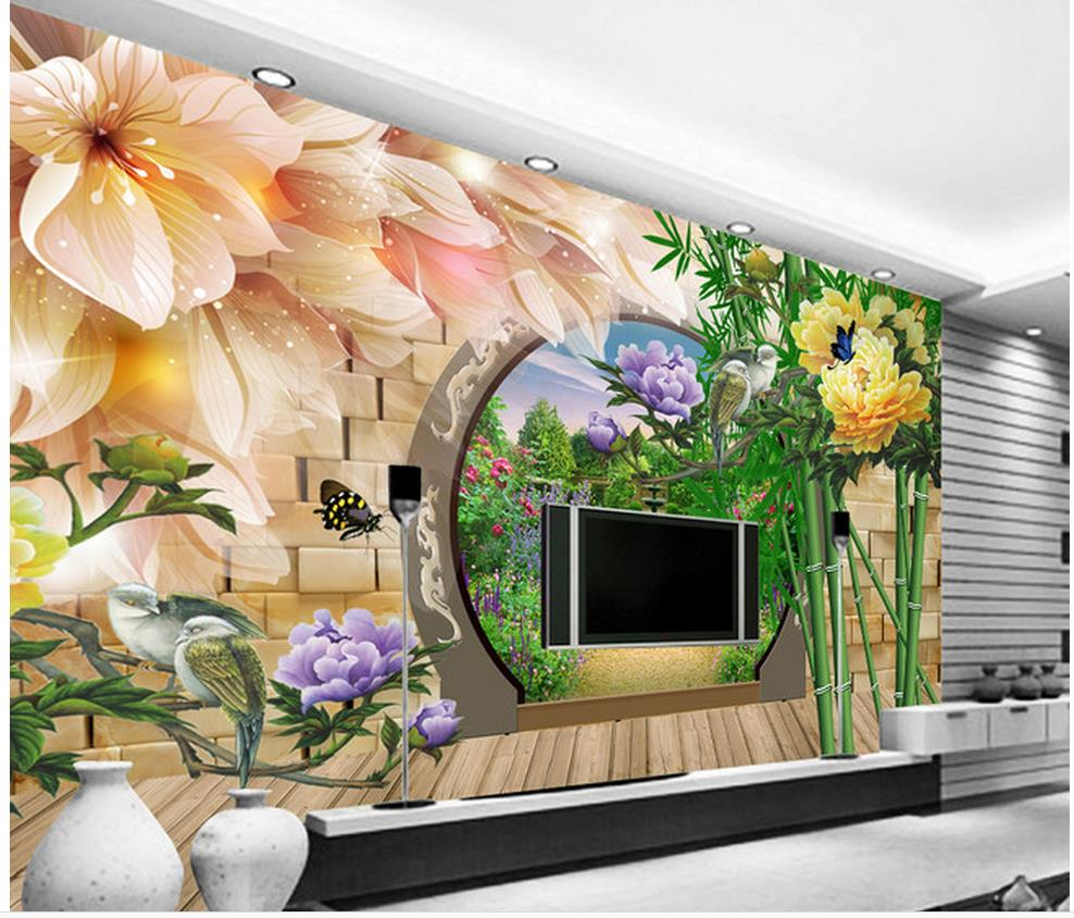 Home Decoration 3d customized wallpaper 3D flower and bird bamboo TV sofa background wall painting