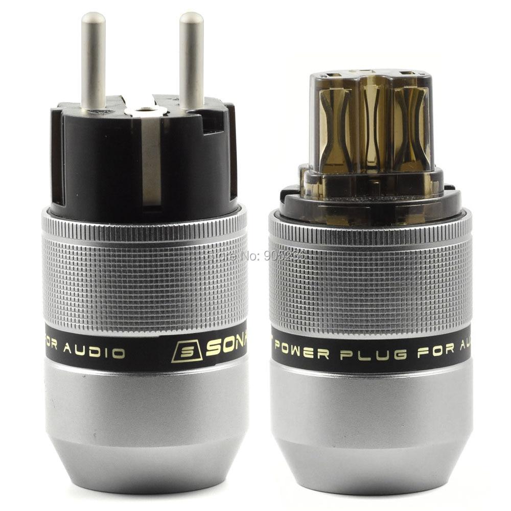 SonarQuest PA-40E(Ag) & PA-40F(Ag) Aluminum Alloy CRYO AG Silver Plated Audio Grade AC Power Plug Connector алкогран ag 325