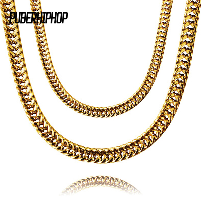 JFY Heavy Mens Gold Color Finish Thick Miami Cuban Link Necklace Chain 8mm  Gold Chain For Men Gift Fashion Hip Hop Jewelry d18359246240