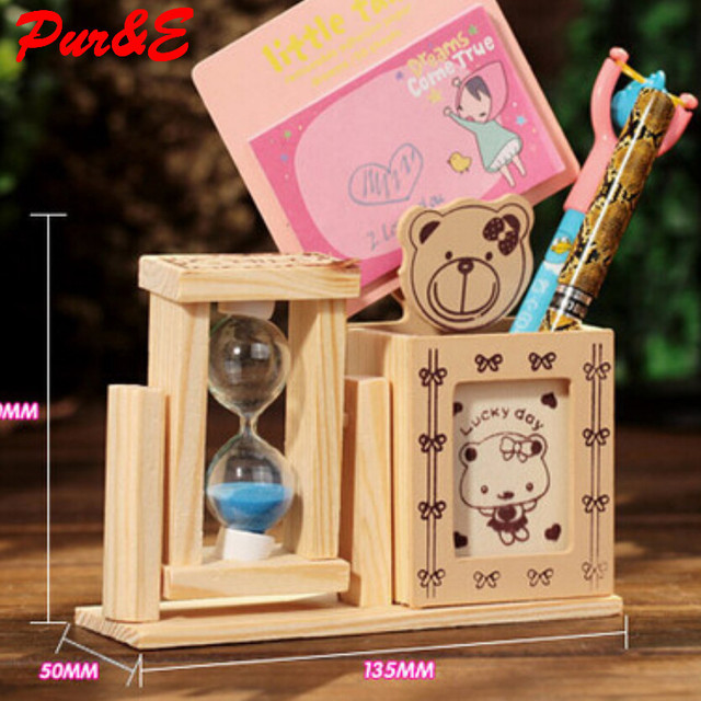 Wooden Handicrafts Thick Quicksand Simple Pen Holder Decoration