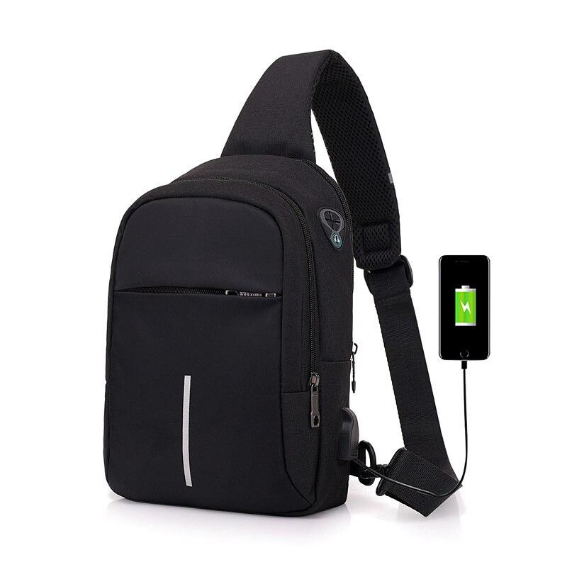 Men/'s Waterproof Chest Bag Oxford Crossbody Charging USB Sling Pack Backpack