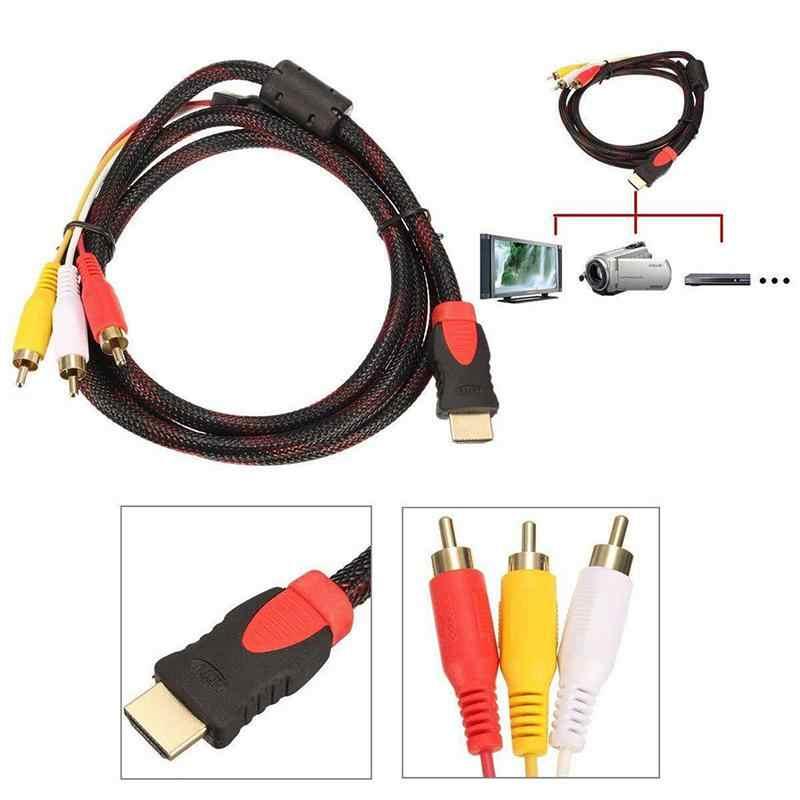 LumiParty مضفر HDMI الذكور إلى 3RCA 5FT الفيديو الصوت مكون تحويل كابل محور 3-RCA AV سلك مهايئ ل HDTV VGA جديد r30