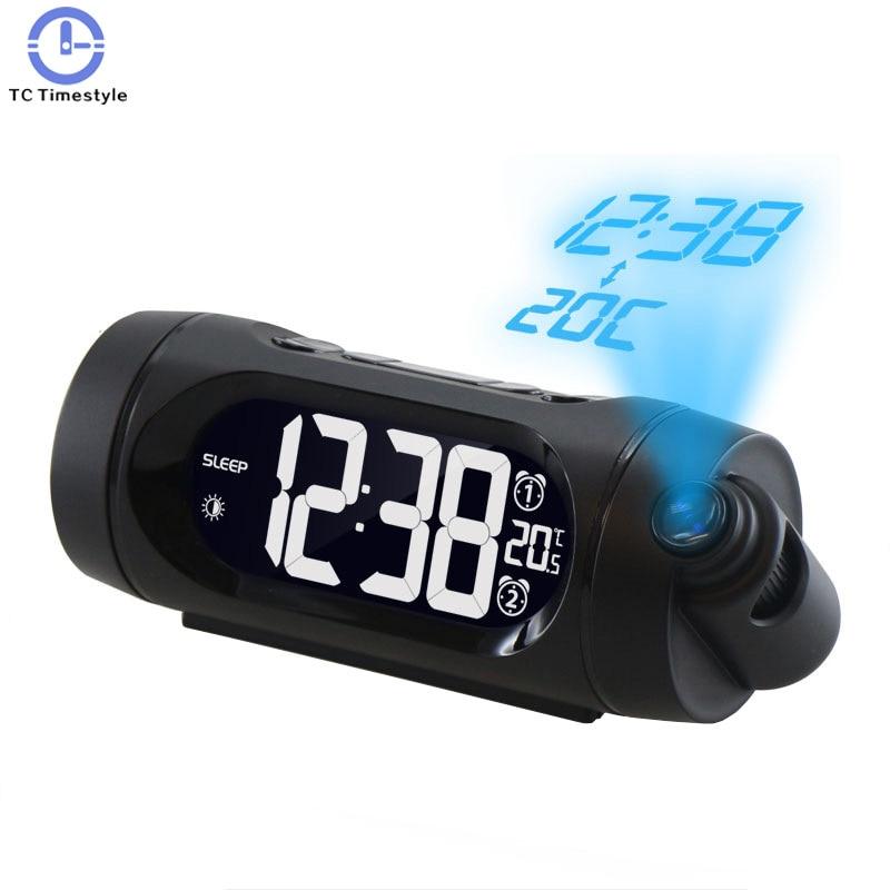 Radio Projection Electronic Alarm Clock Workday Double Luminous Bedroom Sleeping Plastic Black Digital LCD Display Temperature