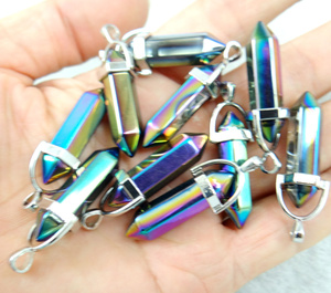 Image 2 - natural stone Turquoises Quartz Crystal lapis charms  Pendant for diy Jewelry Necklaces Accessories 24pcs