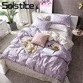 Solstice домашний текстиль  Цветочный комплект постельных принадлежностей для девочек  детей  взрослых  серый льняной пододеяльник  наволочка  ...