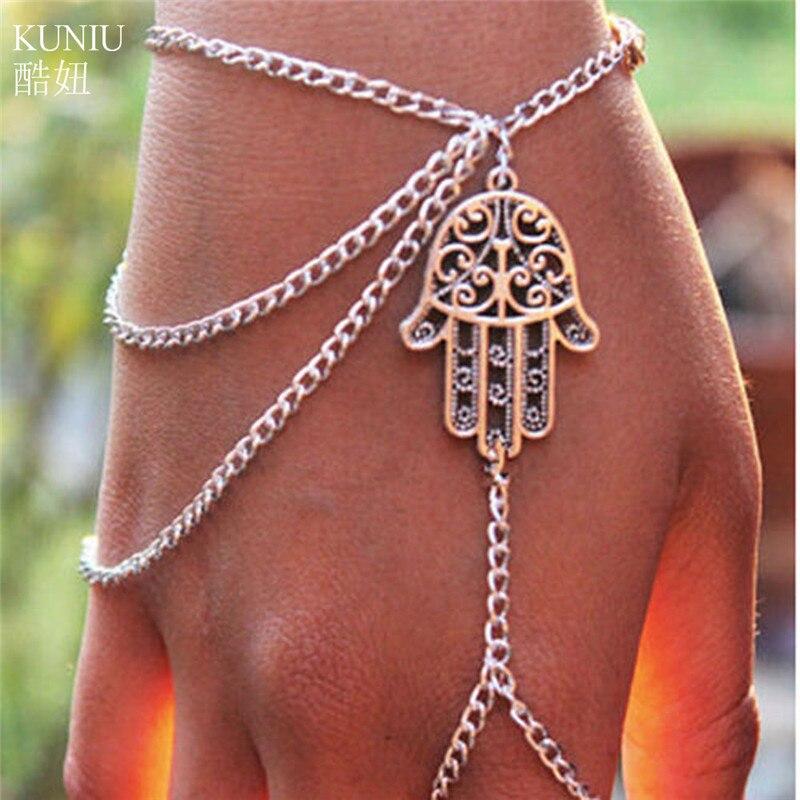 KUNIU Hot Sale Hamsa Hand Silver Slave Bracelet Ring Chain Harness Fashion Jewellery For Women Girl