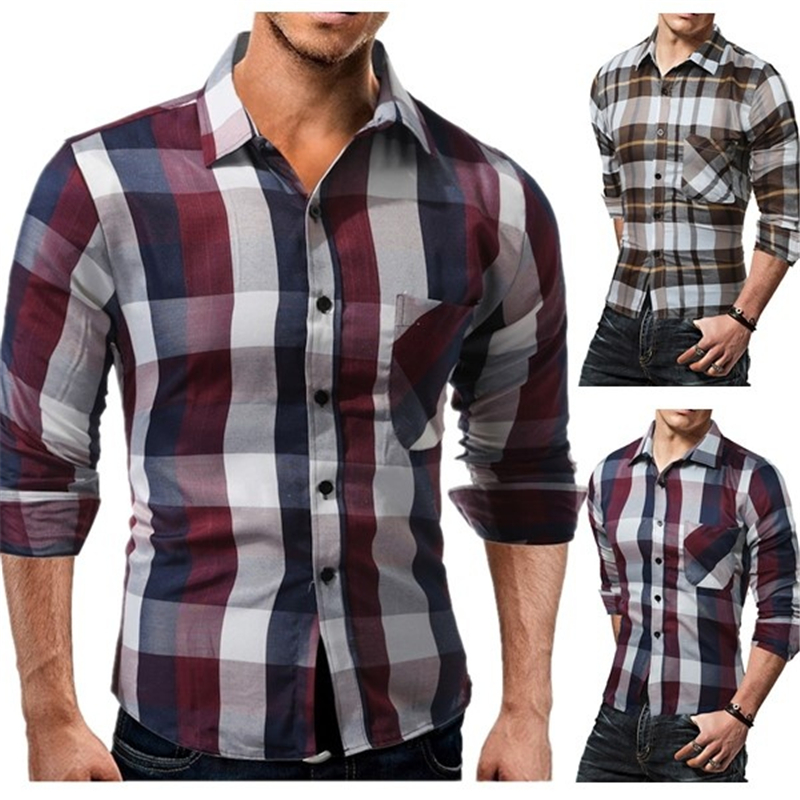 ZOGAA Brand New Mens Shirts Casual Slim Fit Cotton Plaid Shirt Fashion Long Sleeve Tops Dress Shirt For Men Clothing 2018 in Casual Shirts from Men 39 s Clothing