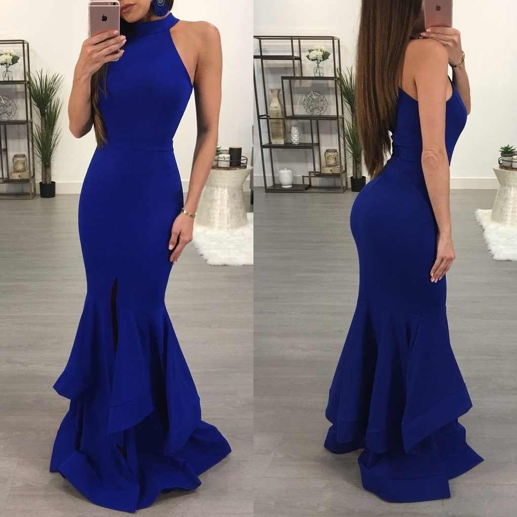 709ba5020d Mermaid Evening Dresses Long Halter Neck Ladies Formal Dress Sexy ...