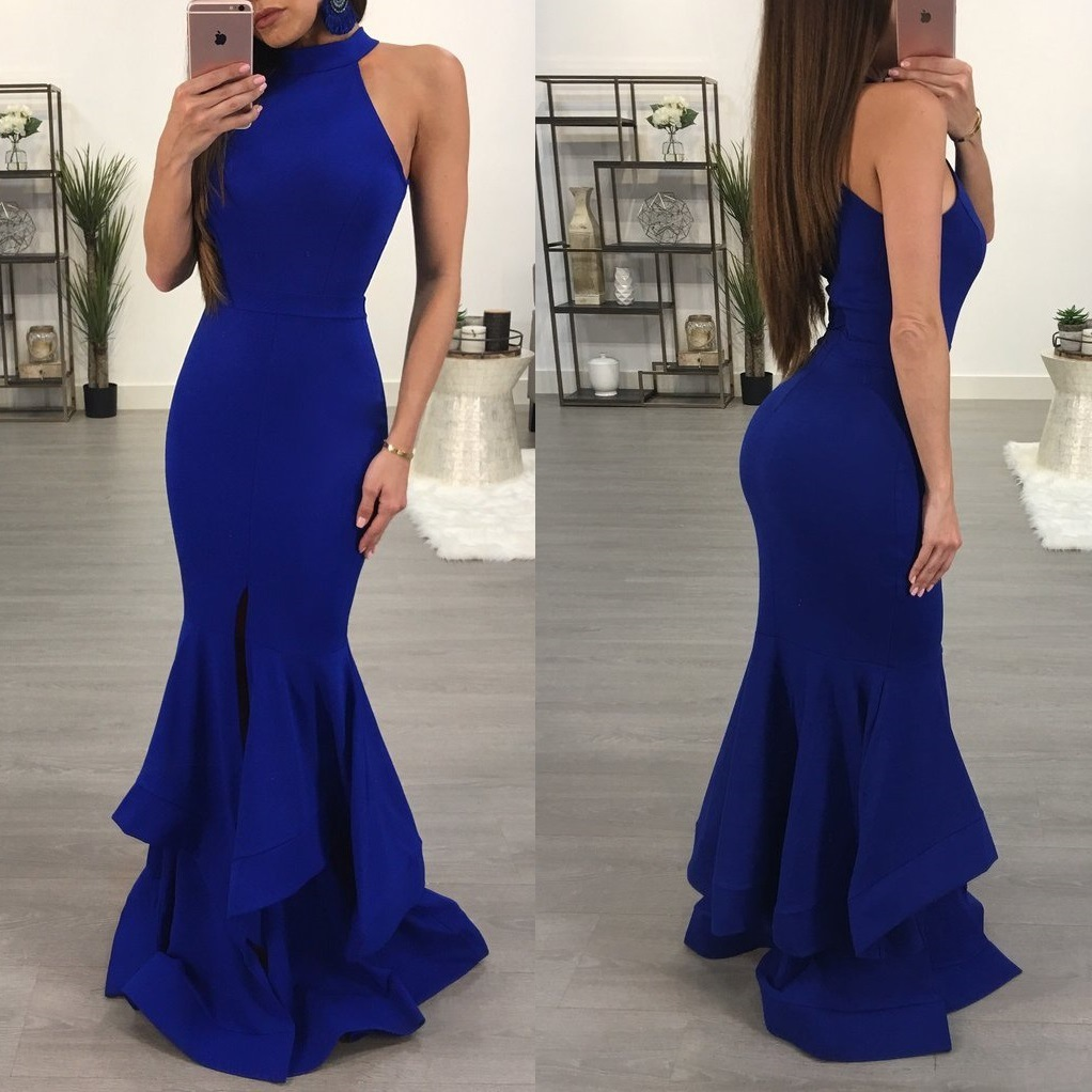 Mermaid Evening Dresses Long Halter Neck Ladies Formal Dress Sexy Sleeveless Nightclub Style Robe De Soiree Abendkleider 2020