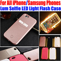 Selfie luz led case para iphone 7 plus 6 más 6 s 5S sí case luminoso case para samsung galaxy s5 s6 edge s7 edge IP655