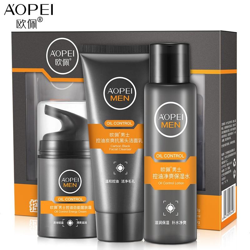 A'OPEI Men's Oil-control SetSkin Care Nourishing Moisturizing Refreshing Cleanser, Toner, Cream лосьон deoproce silkvill nourishing care face