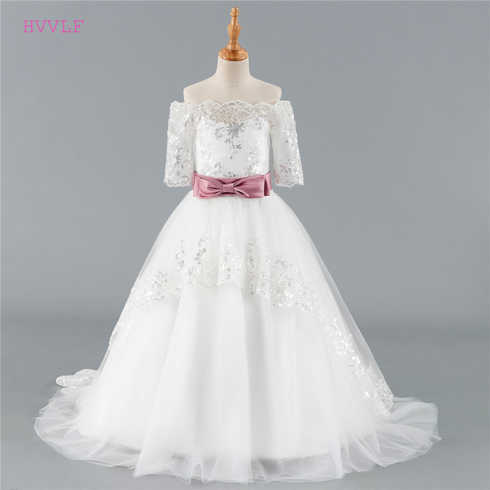 Ivory 2019   Flower     Girl     Dresses   For Weddings Ball Gown Half Sleeves Tulle Lace Bow First Communion   Dresses   For Little   Girls