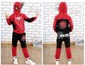 Горячие продажи одежды мальчиков 2016 новых прибытия hoodied мальчики одежда устанавливает человек-паук зима