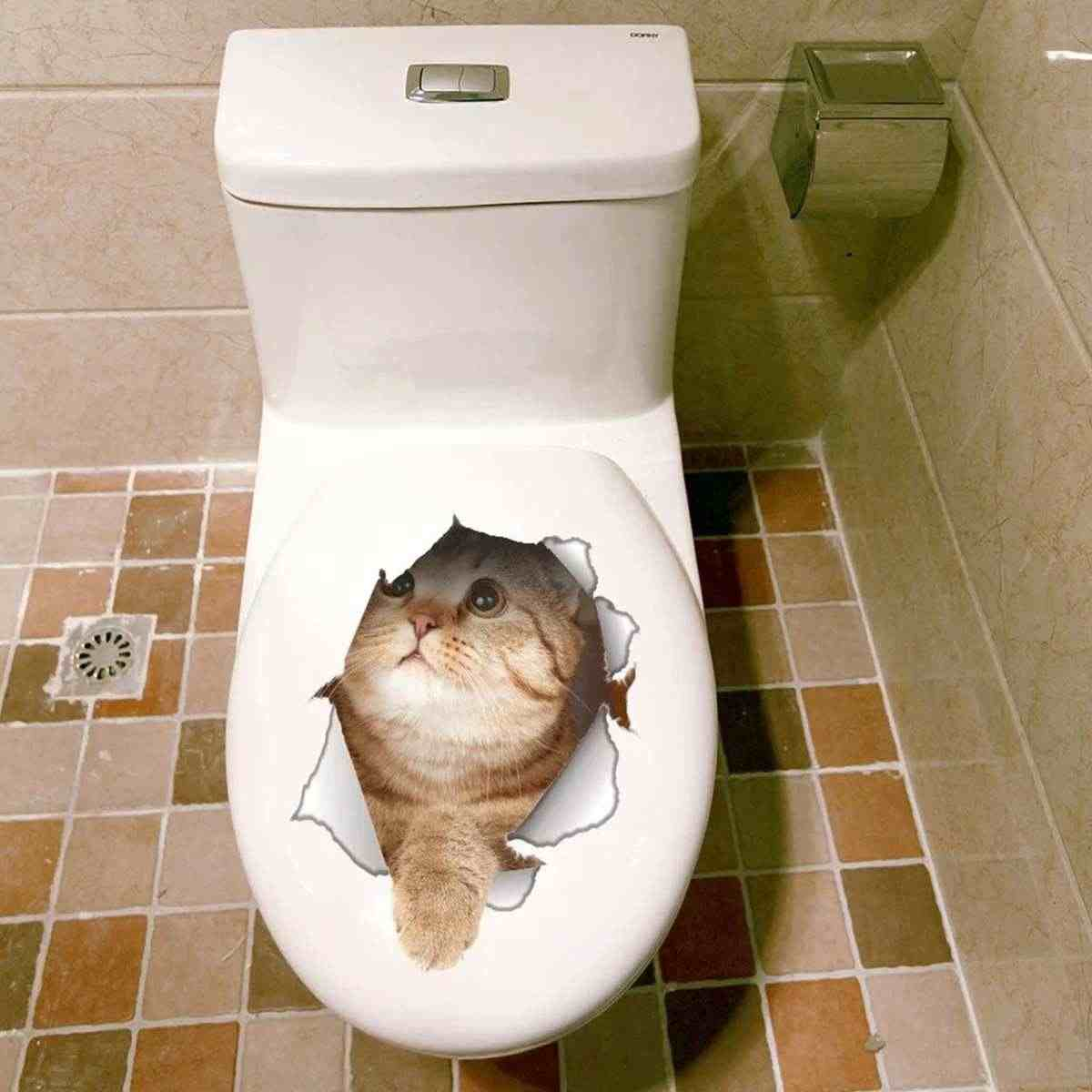 Enfants chambre décoration Stickers muraux autocollant mur Animal chien chat 3D imprimé autocollants salle de bains maison toilette Commode décalcomanie chambre décor