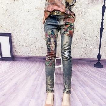 2019 nouveau chaud mode bronzant imprimé petit ami Skinny femmes Mujer déchiré Jeans femme Harem crayon pantalon plafones Vaqueros