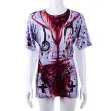 76e40ebedcf3d Sang Halloween Terreur Zombie Infirmière Costumes Sexy Walking Dead t-shirt  cosplay pour les femmes