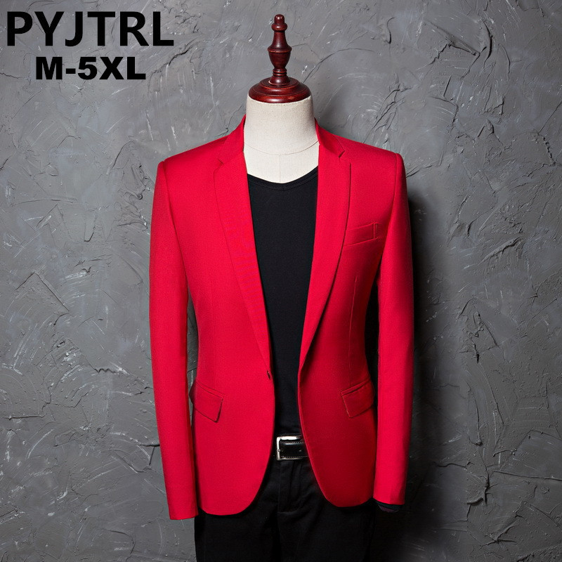 PYJTRL Brand Men's Casual Red Suit Jacket Wedding Slim Fit Men Blazer Stage Costumes For Singers Costume Homme
