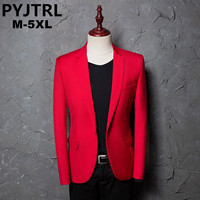 PYJTRL Brand Men's Casual Red Suit Jacket Plus Size 4XL Wedding Slim Fit Men Blazer Stage Costumes For Singers Costume Homme