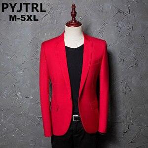 Image 1 - PYJTRL marka erkek rahat kırmızı takım elbise ceket düğün slim fit uzun kollu erkek gömlek Blazer şarkıcılar için sahne kostümleri kostüm Homme