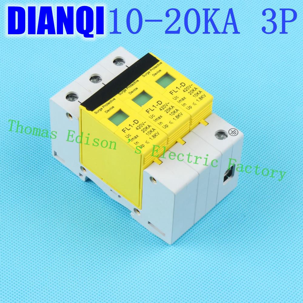 SPD 3P 10KA~20KA D ~420VAC Household Surge Protector Protective Low-voltage Arrester Device Surge Protective Device