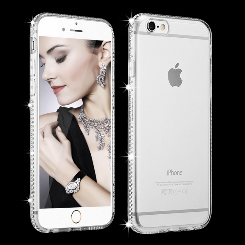 for iphone 7 8 plus Case Transparent Luxury Rhinestone for