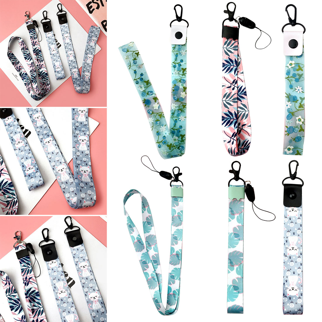 Mobile Phone Strap Cute Cartoon Flower Cat Lanyard Neck Strap For Keys ID Card S For Huawei USB Badge Holder DIY Hang Rope|Mobile Phone Straps| |  - title=