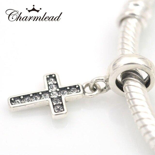 37d0ad292 Fits Pandora Charm Bracelets Jesus Cross Charm 925 Sterling Silver Pendant  with Sparkling CZ Stone DIY Original Bracelet Jewelry