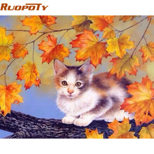 RUOPOTY diy frame Cat DIY Painting By Numbers Acrylic Paint On Canvas Handpainted Unique Gift For Wall Art Picture Artworks(China)