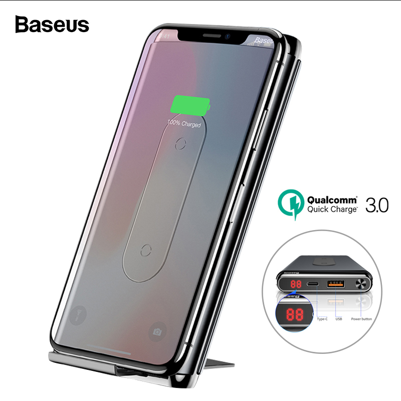 Baseus 10000mAh Quick Charge 3.0 Power Bank Portable Qi Wireless Charger Powerbank For Xiaomi mi USB C PD Fast Wireless Battery-in Power Bank from Cellphones & Telecommunications