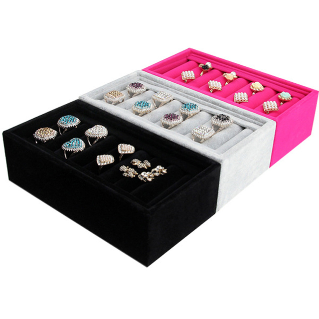 2015 New Rings Bracelets Jewelry Show Velvet Display Rack Stand Organizer Holder Showcase Christmas Gift 3 Colors Hot Sale