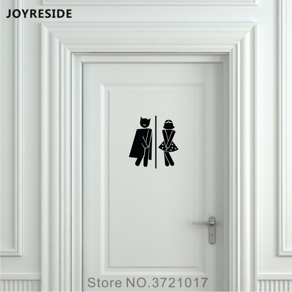 JOYRESIDE Unisex Restroom Bathroom Sign Toilet Door Wall Decal Vinyl Sticker Decor Men Women Home House Art Decoration DIY XY096