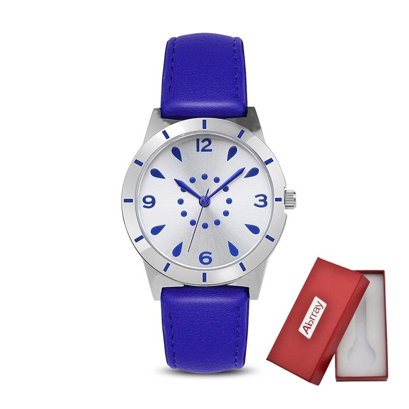 Abrray Quartz Watch For Ladies Blue Leather Strap Fashion Wristwatch With Pin Buckle Business Casual Style Round Women Watches ladies women s fashion style casual watch leather round wristwatch heart love pattern dial with pink white black yellow relogio