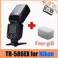 Triopo tr-586ex wireless flash ttl speedlite para nikon d750 d800 d7100 d7000 como yongnuo yn-568ex wt difusor libre