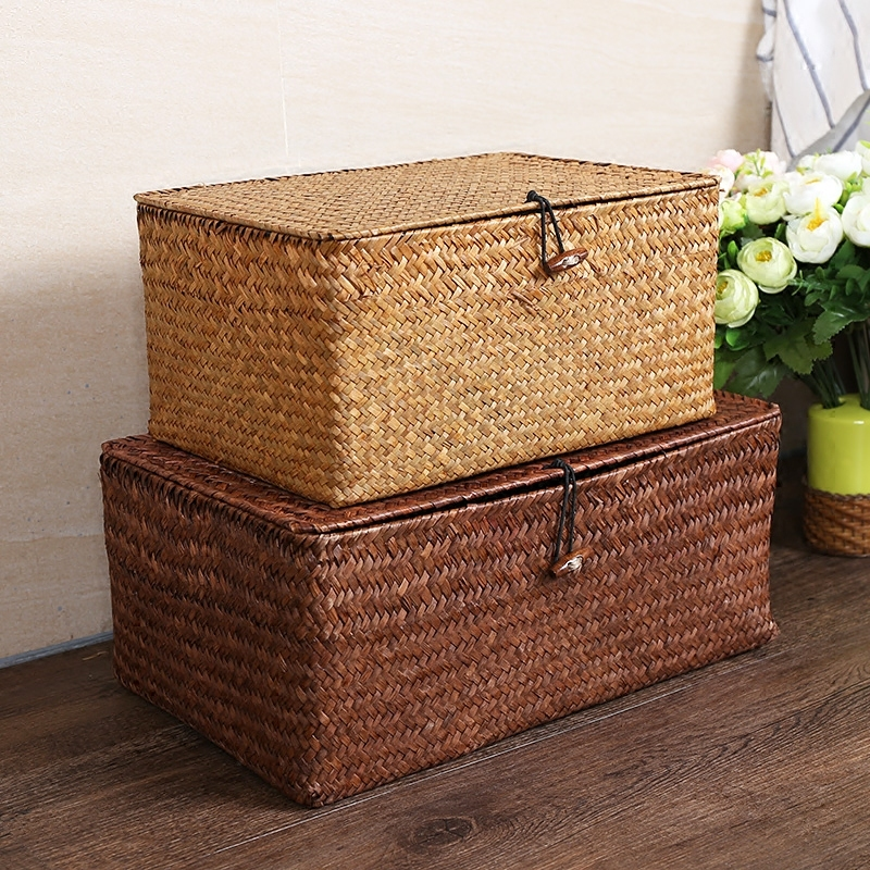 Manual Straw Woven Storage Basket Lid Debris Consolidation Storage Box Storage  Basket Sorting Box Jewelry Box S $
