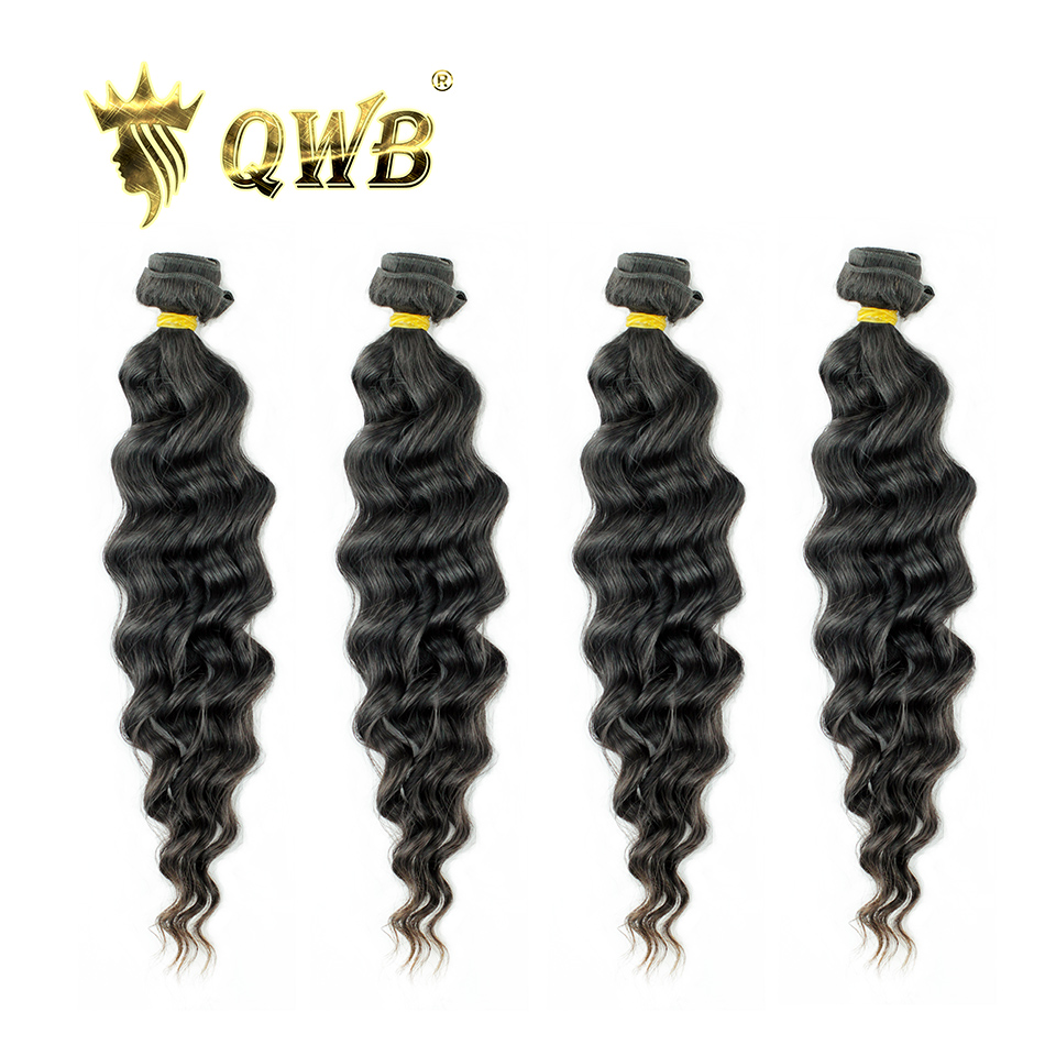 QWB Loose Wave Free shipping 4Bundle Lots 12 28 Queen Weave Beauty Brazilian Virgin Nature Color