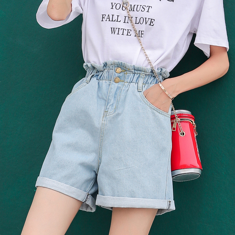 ZOGAA Elastic Waist Straight Denim Shorts Female Loose Wide Leg Was Thin Cuffed High Waist Jeans Streetwear 3 Colors Jeans Woman