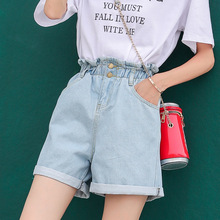 ZOGAA Elastic waist straight denim shorts female loose wide leg was thin cuffed high waist jeans streetwear 3 colors jeans woman loose fit thin straight leg lace up men s floral shorts