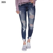Zkess Woman New Slate Denim Blue Washed Frayed Hem Distressed Jeans Fashion Button Fly Hole Pencil Pant with 5-Pockets LC786014