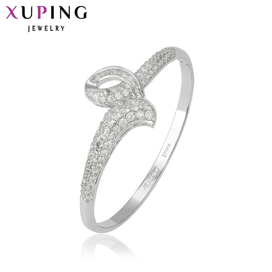 11.11 Xuping Luxury Bangle New Arrival Charm Design Rhodium Color Plated Synthetic CZ Jewelry High Quality Gift S8-51274