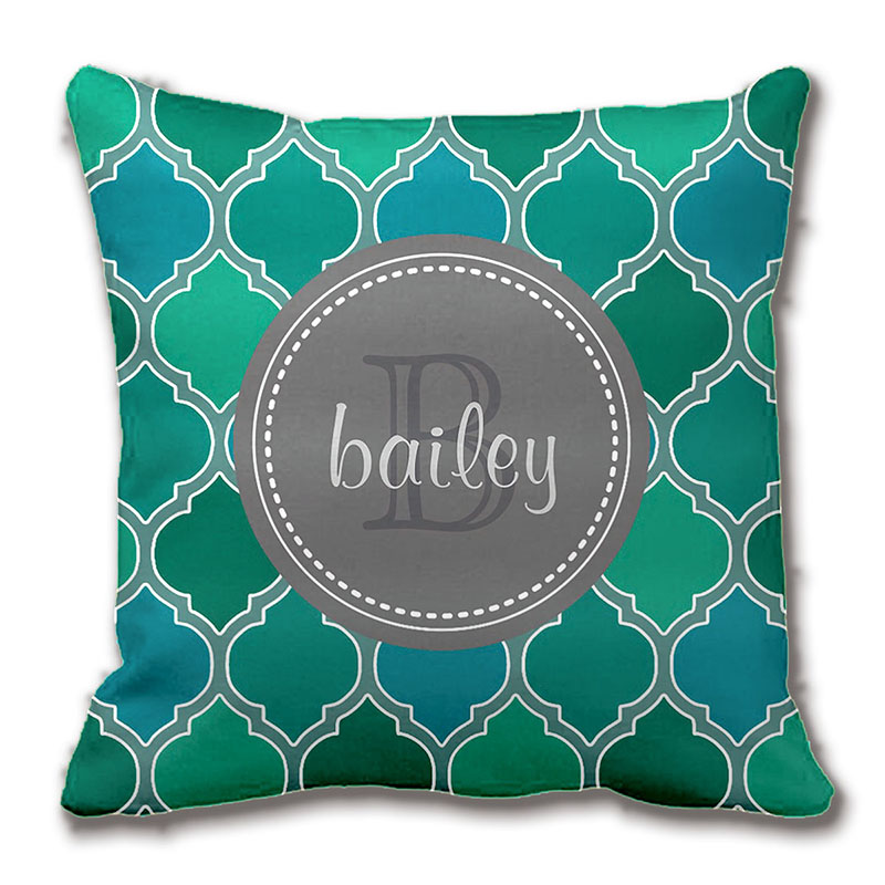 Modern Teal Decorative Throw Pillow : Monogrammed Gray Teal Modern Lattice Pattern Throw Pillow Decorative Cushion Cover Pillow Case ...