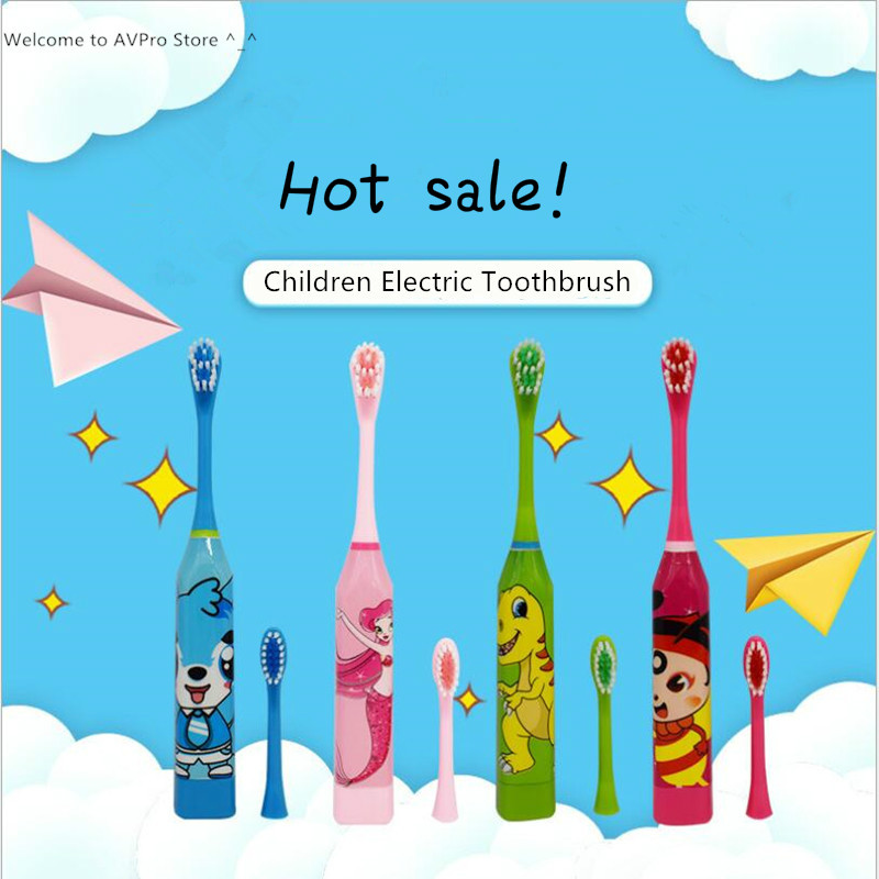 Children <font><b>Toothbrush</b></font> Double-sided Tooth Brush Heads Electric Teeth Brush For <font><b>Kids</b></font> with Replace Head(Battery not include) image
