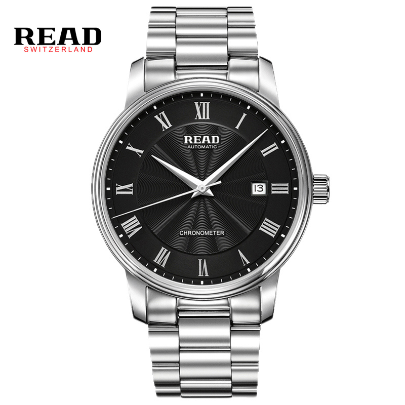 READ automatic Watches Branded Mens Classic Stainless Steel Self Wind Skeleton Mechanical Watch Fashion Cross Wristwatch R8040 allenjoy photography backdrops floor mosaic school blackboard kids vinyl photocall photographic studio computer printing lovely